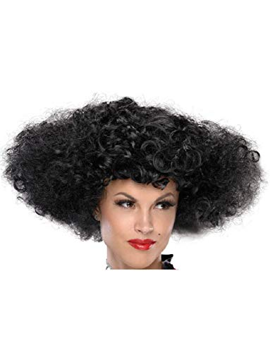 Ick Costume Adult Womens Lets Dance Medievil Renaissance Black Curly Afro Wig ()