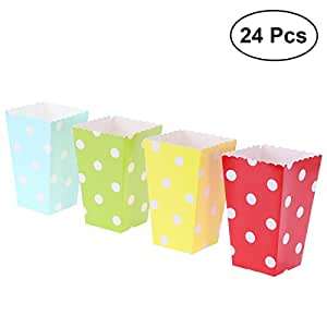 Amazon.com: NUOLUX 24pcs Popcorn Boxes Holders Containers Cartons Polka Dots Candy Paper Popcorn ...