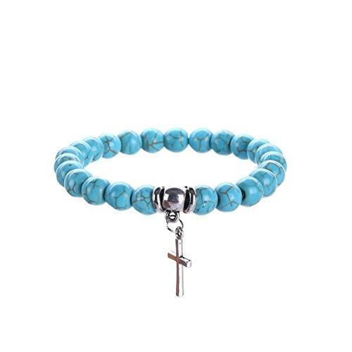 SIVITE Bohemia Turquoise Beads Elastic Bracelet Cross Pendant Healing Bangle Handmade Jewelry