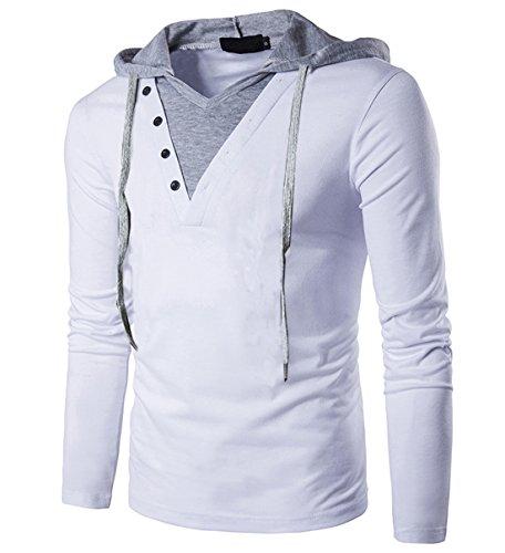 - SIR7 Men's Lightweight Hooded T Shirt Casual Hipster Hip Hop Drawstring Hoodie Shirt White XL
