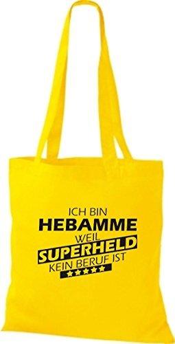 Shirtstown Bolso de tela Estoy Partera, weil Superheld sin Trabajo ist amarillo
