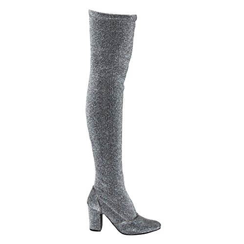Beston EJ58 Frauen Snug Fit Block Heel über Kniehohe Stiefel halbe Größe klein Silberner Glitter