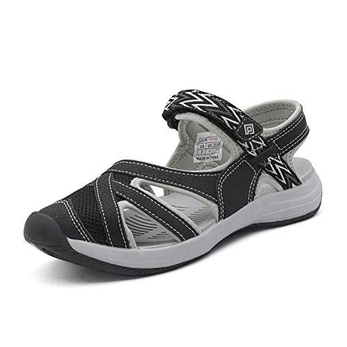 DREAM PAIRS Women's Hiking Sandals Sport Athletic Sandal Black Size 11 M US 181103 (Toe Fisherman Closed Sandal)