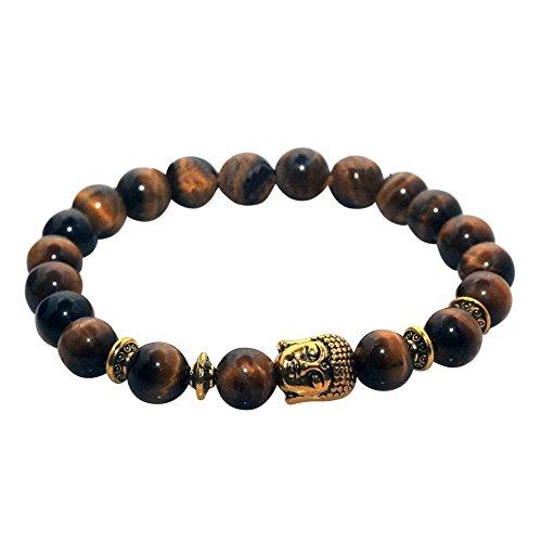 Buddha Head Charm Marble Stone Elastic Bracelet (Tiger Eye Gold)