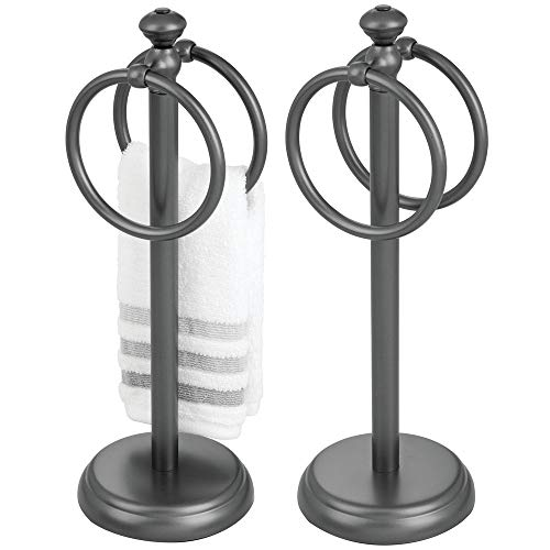 - mDesign Decorative Metal Fingertip Towel Holder Stand for Bathroom Vanity Countertops to Display and Store Small Guest Towels or Washcloths - 2 Hanging Rings, 14.25