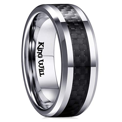 King Will Gentleman 7MM Mens Titanium Ring Black Carbon Fiber Inlay Comfort Fit Polished Wedding Band (12.5)