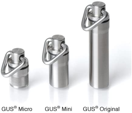 GUS Micro Pill Fob, Made in USA, Stainless Steel Keychain Pill Holder, Holds Two Emergency Aspirin, Ultra Compact Design