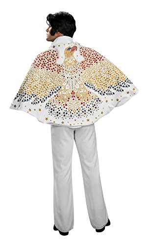 OvedcRay Licensed Elvis Presley Adult Mens 50'S Costume Cape W/ Eagle Rock N Rolls White ()