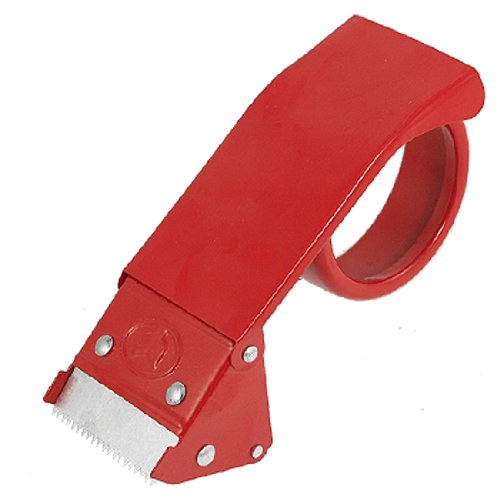 """uxcell Red Metal 2"""" Packaging Adhesive Tape Cutter Roll Dispenser"""