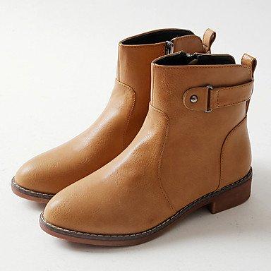 RTRY Zapatos De Mujer Moda Otoño Invierno Pu Botas Botas Planas Botas De Tacón Botines/Tobillo For Casual Marrón Claro Negro Gris US6.5-7 / EU37 / UK4.5-5 / CN37