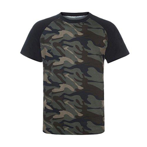 manadlian T-Shirt Hommes, Hommes T-Shirt Minimaliste Militaire Chemise à Manches Courtes Camouflage O-Neck 3
