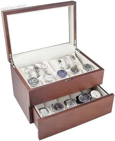Caddy Bay Collection Vintage Wood Watch Case Display Storage Watch Box Glass Top Holds 20+ Watches With Adjustable Soft Pillows and High Clearance for Larger Watches