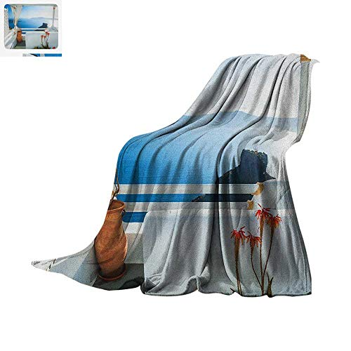 (European Warm Microfiber All Season Blanket Holiday Terrace with Sea at Sunset Architecture on Santorini Island Greece Summer Quilt Comforter 90