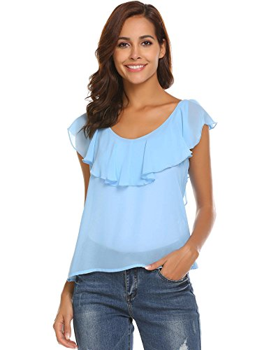Blue Chiffon - Dealwell Women's Sleeveless V-Neck with Ruffle Trim Summer Chiffon Blouse Top Sky Blue S