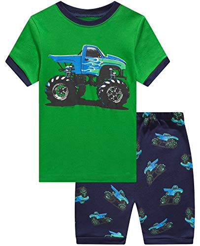 Boys Pajamas Truck Short Pjs Car Toddler Pjs Clothes Kids Sleepwear Summer Shirts Size 5 Green/Blue
