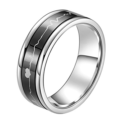 PAURO Stainless Steel 7MM EKG Heartbeat Spinner Ring Band for Men and Women, Black Size 9
