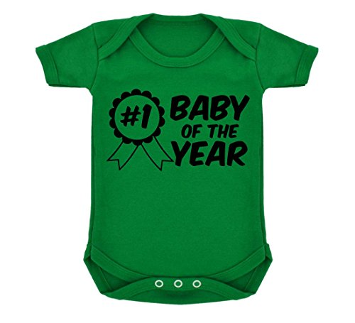 - Cute #1 Rosette Baby of the Year Sash Baby Bodysuit Emerald Green & Black Print