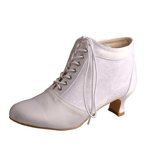 Wedopus MW188 Women's Round Toe Lace-up Boots Block Mid Heel Lace Satin Wedding Bridal Pumps Shoes Size 9 White