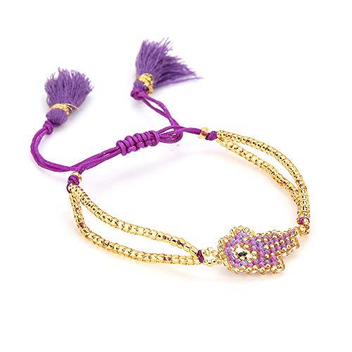 - BALIBALI Handmade 100% Authentic Miyuki Seed Beads Couples Bracelet Woven Good Luck Vintage Evil Eye Hamsa Fatima Hand Adjustable Amulet Charms Bangle Jewelry