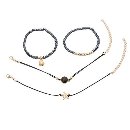 (Bsjmlxg 5PCS Fashion Bracelet Diamond-Studded Geometric Leaves Moon Jewelry, Bridal Wedding Prom Party Pageant)