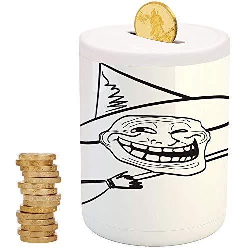 (Humor Decor,Ceramic Girl Bank,Printed Ceramic Coin Bank Money Box for Cash Saving,Halloween Spirit Themed Witch Guy Meme LOL Joy Spooky Avatar Artful)