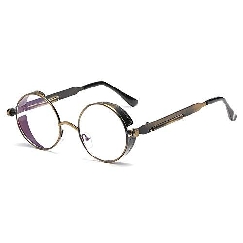 gafas Steampunk espejo redondo de hombres para de gafas sol UV400 gótico mujeres C16 Juleya retro vintage metal tRCqnwxAx5