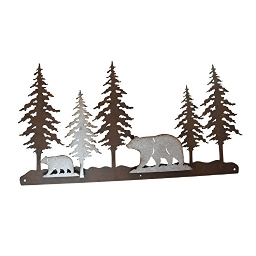 Pine Ridge 3-D Bear Scene Metal Wall Art - Western Decorative Heavy Duty Wall Hanging Display for Home, Kitchen, Toilet and Bathroom ()