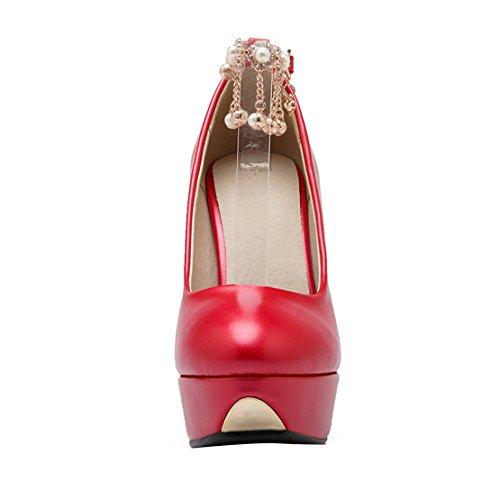 AIYOUMEI Damen Lack Knöchelriemchen Plateau Stiletto Pumps mit Perlen Elegant Abend Schuhe Rot