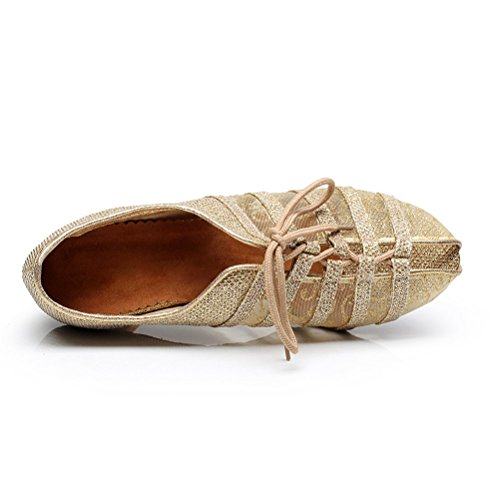 BCLN Womens Open toe Sandals Latin Salsa Tango Heels Practice Ballroom Dance Shoes with 2.75 Heel Gold F8BAkah6Dl