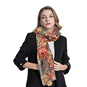 GERINLY Lightweight Scarves Fashion Flowers Print Women Cotton Wrap Scarf