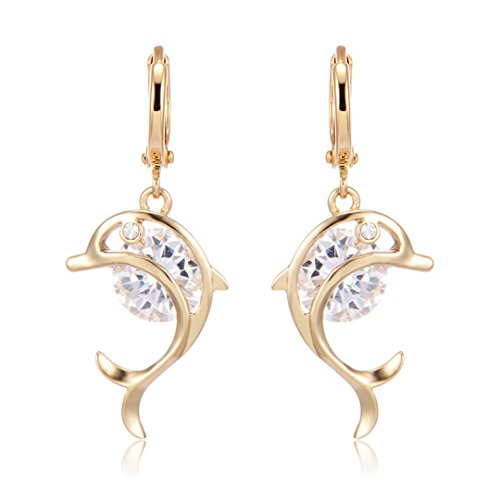 CS-DB 18K Yellow Gold Filled Dolphin CZ Stone Earrings