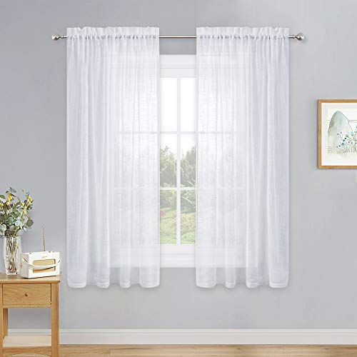 PONY DANCE Bedroom Sheers Curtains - Window White Voile Rod Pocket Design Thick Faux Linen Semi-Sheer Curtain Drapes Light Filter for Living Room Short Bay Windows, 52 x 63 in, Pack-2
