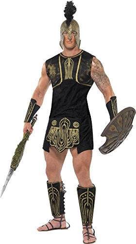 [Smiffy's Men's Achilles Costume, Tunic, Belt, Gauntlets and Shin Guards, Legends, Serious Fun, Size L,] (Trojan Costume)