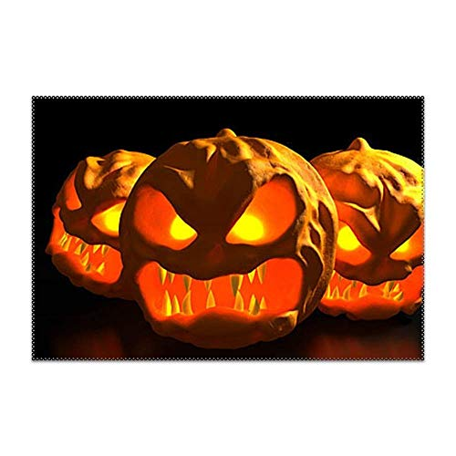 POGResdx Scary Halloween Pumpkin Carving Placemat for Dining Table Heat Resistant Wipeable Non-Slip 4 Pieces ()