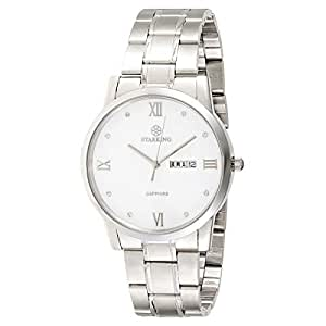 Starking Men's White Dial Stainless Steel Band Watch - BM0859SS11