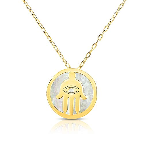 - 14k Yellow Gold Mother of Pearl Hamsa Disc Pendant Necklace, 16 Inches