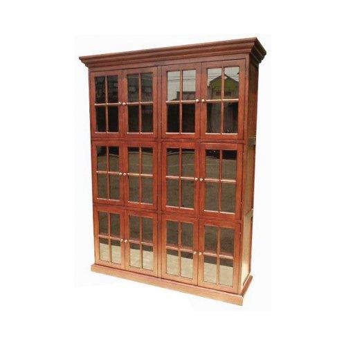 Cabinet Wall Mahogany Bookcase - Offex Mahogany Wood Multifunctional 12 Door Library Bookcase Cabinet