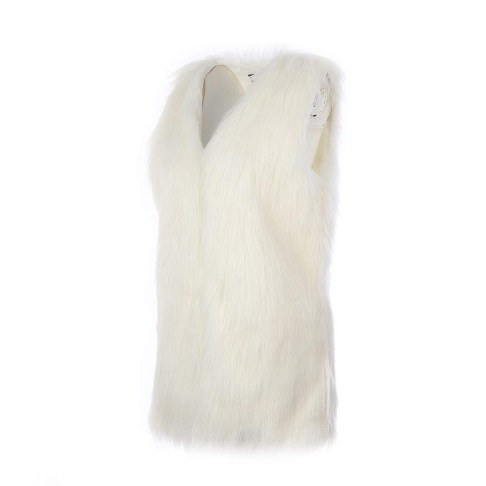 EFINNY Women Faux Fur Long Gilet Waistcoat Ladies Elegant Sleeveless Vest Warm Jacket Coat Cardigan S-3XL