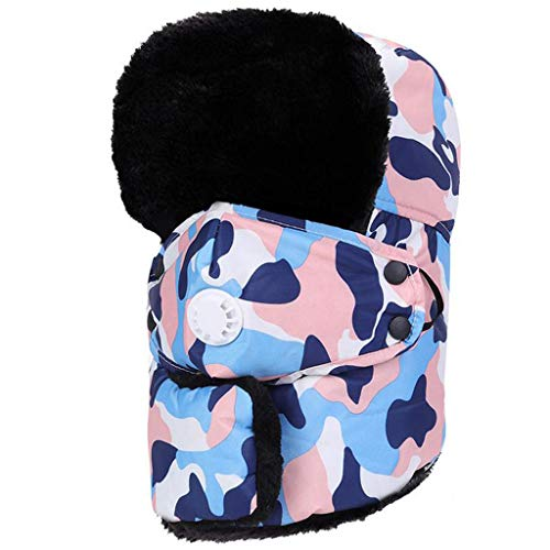 Crytech Unisex Winter Ski Bomber Hat, Windproof Breathable Warm Trapper Cap with Earflap Mask Ushanka Russian Trooper Ski Hat Snow Aviator Hat for Women Men Hunting Skiing Skating (Pink)
