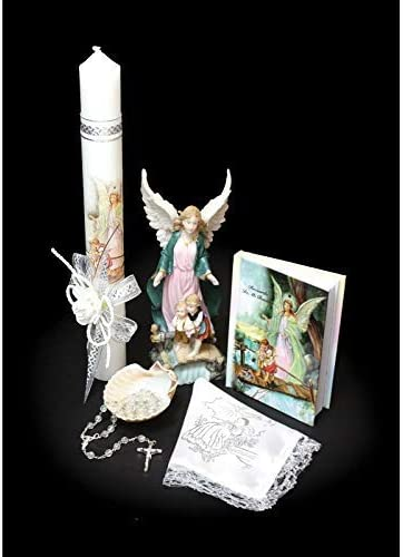 Bible English Handmade Christening//Baptism Set for Girl Sea Shell Dry Cloth Bautizo Religious Gift or Unisex:Virgen Virgencita Nightlight Statue Lamp Candle Boy Rosary