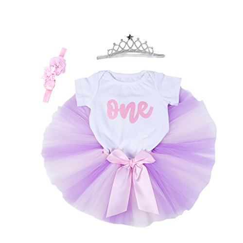Crown Skirt - Baby Girls 1st Birthday Bling One Romper Tutu Skirt Flower Crown Headband (Purple Pink, 6-9Months)
