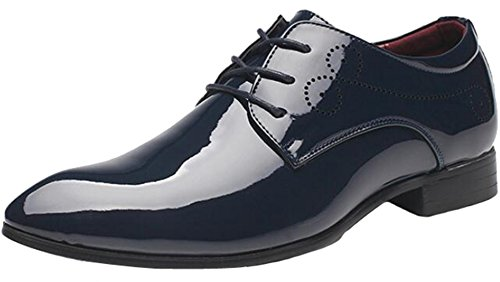 PPXID Mens Fashion Pointed Toe Lace up Wedding Party Dress Shoes(Big Size Available) Blue zJWp7Ee