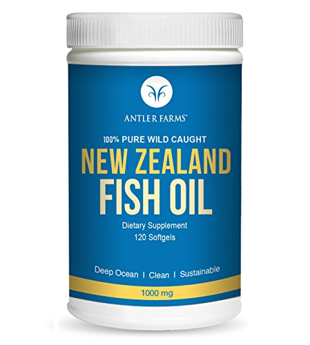 Antler Farms - 100% Pure Wild Caught New Zealand Fish Oil from Deep Ocean, Cold Water Fish, 120 Softgels - Clean, Fresh Omega-3 EPA + DHA Supplement, Keto Friendly, NO Heavy Metals, NO Chemicals