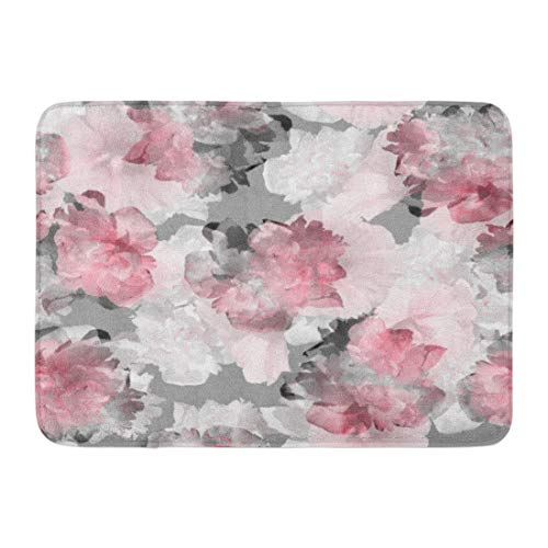 (Emvency Doormats Bath Rugs Outdoor/Indoor Door Mat Floral Pattern Tropical Peony Hibiscus Pink Flowers Blossom Amazing Collage Light Trend Color for Natural Bathroom Decor Rug Bath Mat 16