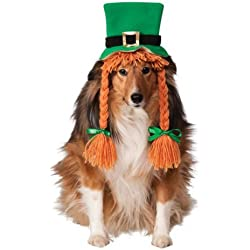 Rubie's Costume Co St. Patty's Day Girl Pet Costume Hat with Braids, Medium/Large