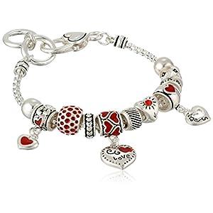 "Silver-Tone Heart Charm Bracelet, 7.5"""
