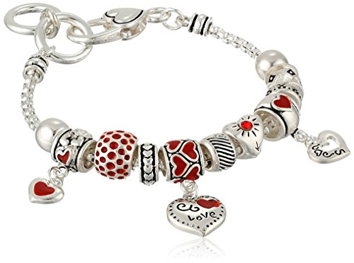 Silver-Tone Heart Charm Bracelet, 7.5