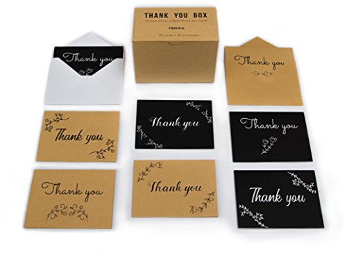 Thank You Cards - 36 Beautiful Kraft and Black Cards - Kraft and White Envelopes Plus Stickers - Blank on the Inside - 6 Designs - -