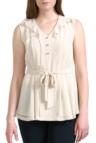 Jessie G. Women's 'Bianca' Pleated Front Chiffon Shirt - Beige (Silk Charmeuse Tunic Top)