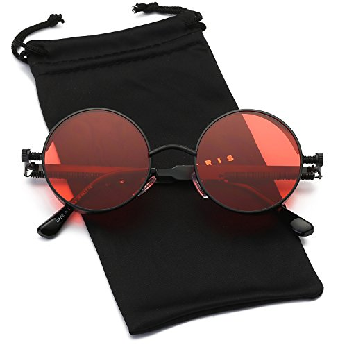 Dumok Round Metal Gothic Steampunk Vintage Circle Sunglasses DSR008 With Black Frame/Red ()